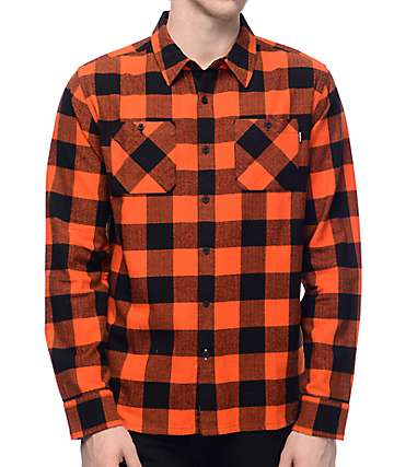 Primitive Herringbone Orange Buffalo Plaid Flannel Shirt