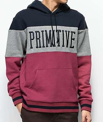 Primitive League Colorblock sudadera con capucha en azul, gris y rojo