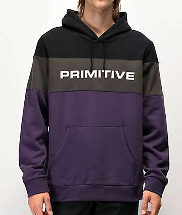 Primitive Levels Black, Purple & Grey Colorblock Hoodie