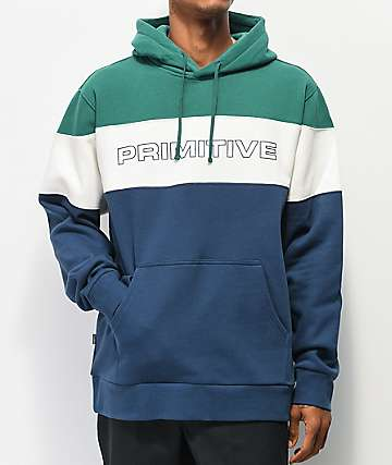 Primitive Levels Green, White & Navy Colorblock Hoodie
