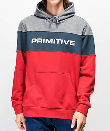 Primitive Levels Navy, Red & Grey Colorblock Hoodie