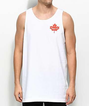 Primitive Maple Leaf White Tank Top