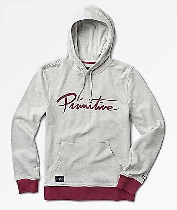Primitive Nuevo Contrast Grey & Burgundy Hoodie