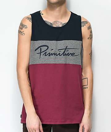 Primitive Nuevo League Maroon, Grey & Navy Tank Top