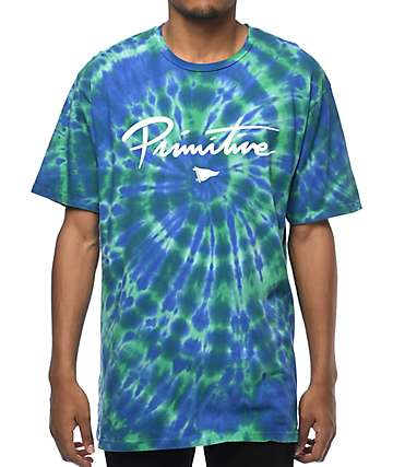 Primitive Nuevo Pennant Green & Purple Tie Dye T-Shirt