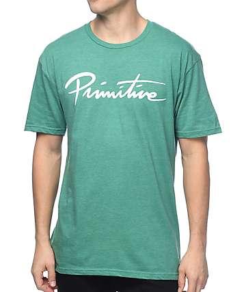 Primitive Nuevo Script Heather Kelly Green T-Shirt