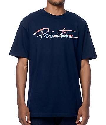 Primitive Nuevo Script Ink Navy T-Shirt