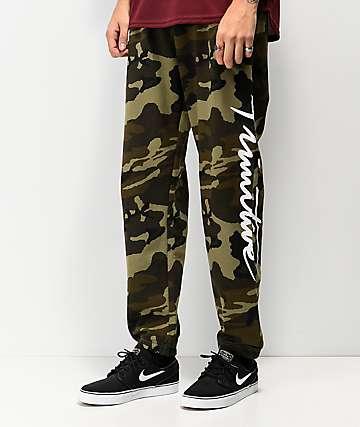 Primitive Nuevo pantalones deportivos de camuflaje verde