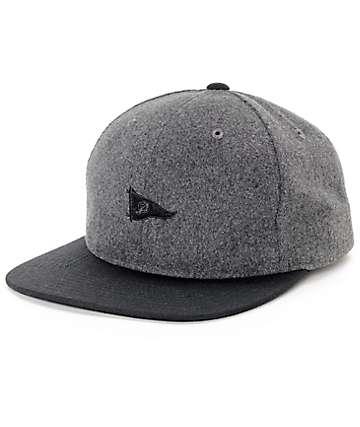 Primitive Pennant Wool Charcoal,  & Black Strapback Hat