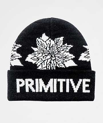 Primitive Point Floral Black Beanie