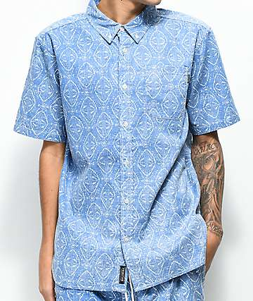 Primitive Pool Party Blue Short Sleeve Button Up Shirt