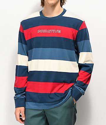 deab4b242b76dd Primitive Porter Blue, Red & White Stripe Long Sleeve T-Shirt