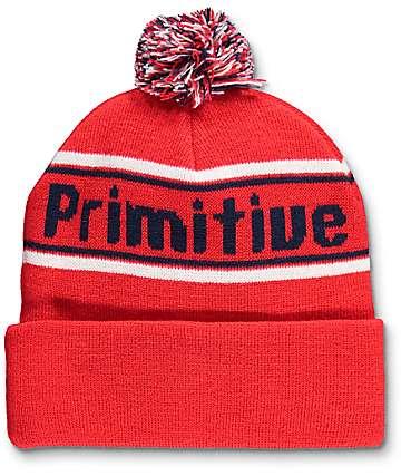 Primitive Prime Red Pom Beanie