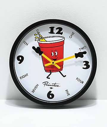 Primitive Red Cup Wall Clock