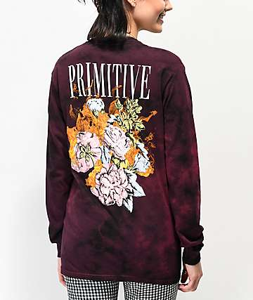 Primitive Revenge Purple & Black Tie Dye Long Sleeve T-Shirt