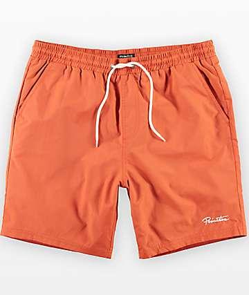 Primitive River shorts de baño con pretina elástica en color naranja