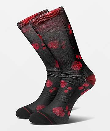 Primitive Rosemead Black & Red Crew Socks