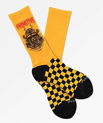 Primitive Samurai Yellow & Black Checkered Crew Socks