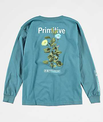 Primitive Tulip camiseta de manga larga en azul pizarra para niños