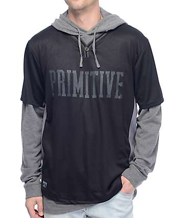 Primitive Two-Fer Baseball Black Pullover Hoodie