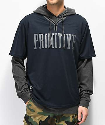 Primitive Two-Fer Baseball Navy & Grey Hoodie
