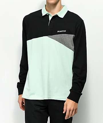 Primitive Union Mint & Black Rugby Long Sleeve Shirt