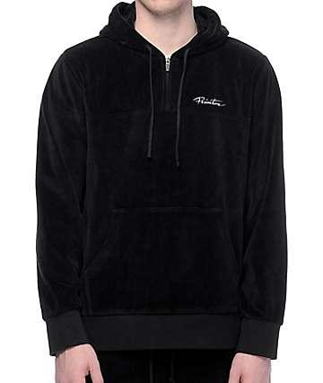 Primitive Velour sudadera negra con capucha y media cremallera de terciopelo
