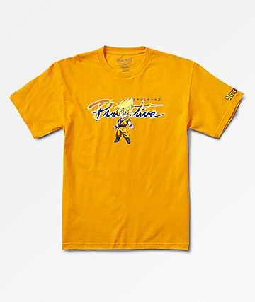 Primitive X Dragon Ball Z Boys Nuevo Goku Saiyan Gold T-Shirt
