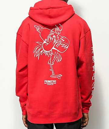 Primitive X Huy Fong Rooster sudadera roja con capucha