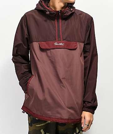 Primitive chaqueta anorak borgoña con cinta