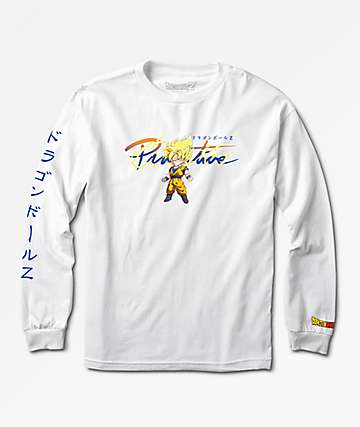 Primitive x Dragon Ball Z Boys Nuevo Goku Saiyan White Long Sleeve T-Shirt