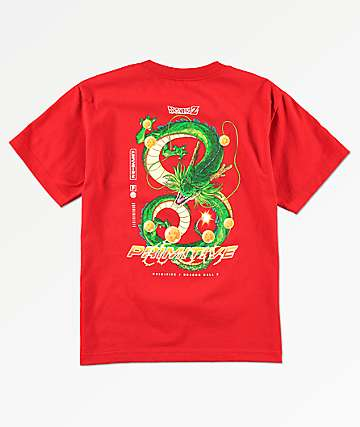 Primitive x Dragon Ball Z Boys Shenron Dirty P Red T-Shirt