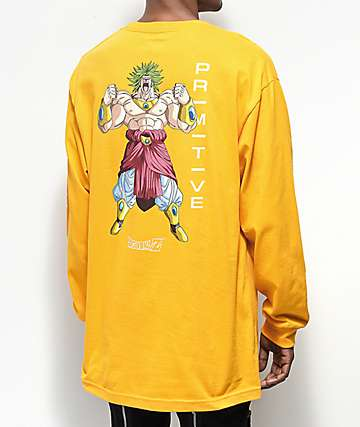 Primitive x Dragon Ball Z Broly camiseta dorada de manga larga