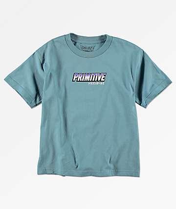 Primitive x Dragon Ball Z Frieza Mecha camiseta azul para niños