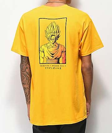 Primitive x Dragon Ball Z Goku Saiyan Style Gold T-Shirt