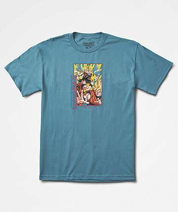 Primitive x Dragon Ball Z Goku Saiyan camiseta azul