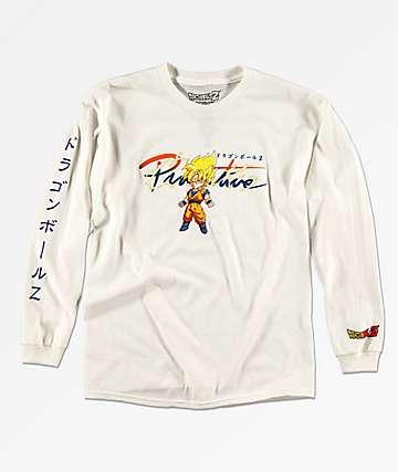 Primitive x Dragon Ball Z Goku Saiyan camiseta blanca de manga larga