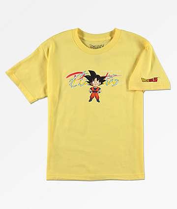 Primitive x Dragon Ball Z Goku camiseta amarilla para niños