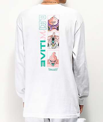 Primitive x Dragon Ball Z Majin Buu Forms White Long Sleeve T-Shirt