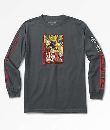 Primitive x Dragon Ball Z Super Saiyan Goku camiseta gris de manga larga