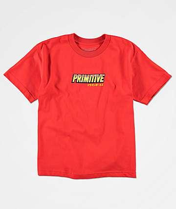 Primitive x Dragon Ball Z Super Saiyan Goku camiseta roja para niños