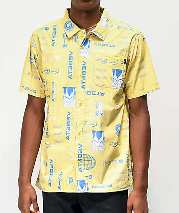 Primitive x Dragon Ball Z Vegeta Yellow Short Sleeve Button Up Shirt