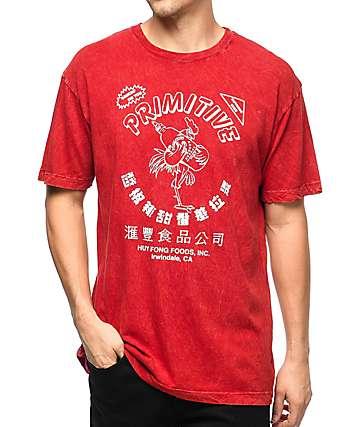 Primitive x Huy Fong Foods camiseta roja con lavado ácido