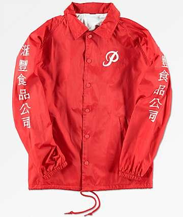 Primitive x Huy Fong chaqueta entrenador en rojo para niños