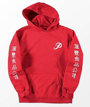 Primitive x Huy Fong sudadera con capucha roja para niños