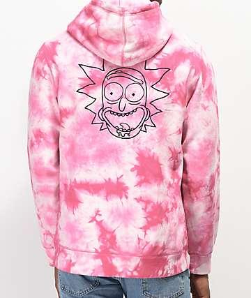 Primitive x Rick and Morty Rick sudadera con capucha tie dye rosa