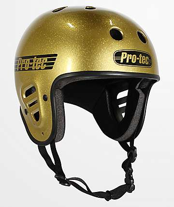 Pro-Tec Full Cut Gold Flake Skateboard Helmet