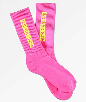 Psockadelic Classic Neon Pink & Yellow Crew Socks