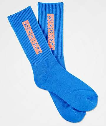 Psockadelic Classic calcetines en azul y naranja neón.
