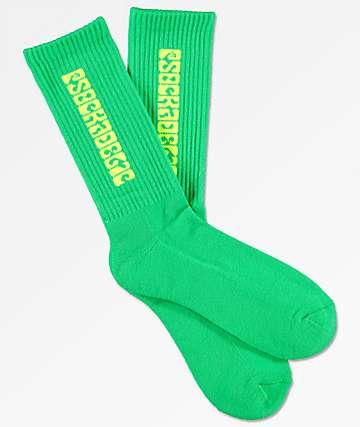 Psockadelic Classic calcetines en neón verde y amarilló